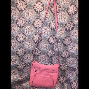 Tignanello's Coral Leather Crossbody